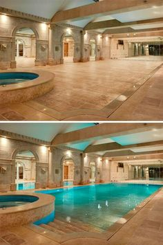A hidden indoor swimming pool! My parents always told my sister and I that there was a hidden pool in out living room... Maybe they were right! Lol