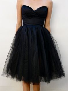 Black Tulle Bridesmaid Dresses - Elegant Halloween Wedding Inspiration in Black, White, and Silver (and a Touch of Quirky) Vintage Bridesmaid Dresses, Tulle Bridesmaid Dress, Strapless Dress Formal, Bridesmaids, Event Dresses, Prom Dresses, Formal Dresses, Black And White Cocktail Dresses, Dress Me Up