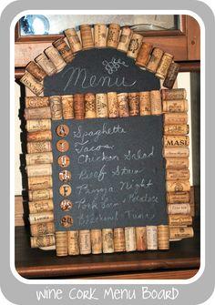 Boy, Oh Boy, Oh Boy Crafts: Recycled Wine Cork Menu Board