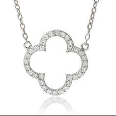 Journee Collection Sterling Silver Cubic Zirconia Quatrefoil Cross Pendant