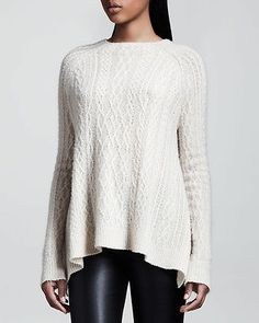 THE ROW ~ $1350 'Bea' Cream Cashmere Silk Fine Cable-Knit Swing ...