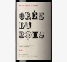 typographic label for Orée du Bois wine from Belgium, designed by Dorian http://www.estudiodorian.com/ #design #packaging