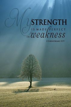 My strength is made perfect in weakness. 2 Corinthians 12:9