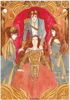 Charlotte, Henry, and Tessa over Miranda. Clockwork Angel