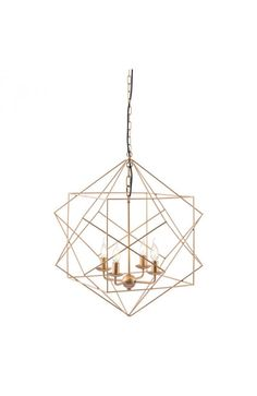 The Penta ceiling lamp is sophisticated geometric perfection; as slim gold finished metal rods continuous wrap to create an elegant chandelier with four single candelabra lights. Bulbs are not include