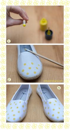 Mode : DIY espadrilles abeilles : Clones N Clowns by Aimee Wood Painted Sneakers, Painted Shoes, Diy Clothing, Sewing Clothes, Sharpie Tie Dye, Shoe Makeover, Shoe Refashion, Diy Fashion Projects, Do It Yourself Fashion