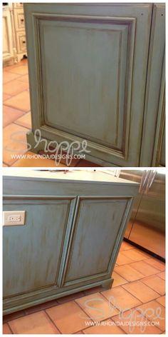 Rhonda J Designs llc - 2014 : Pleasanton, TX cabinet for custom home builder Annie Sloan Chalk Paint® #Provence with Clear Wax, then #Olive wash and Dark wax! #anniesloan #chalkpaint #kitchencabinets #customhomebuilder #morethanpaint