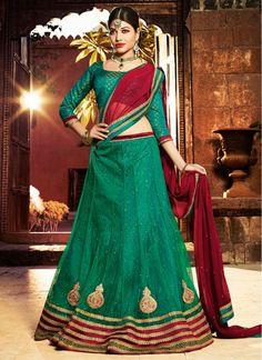 Adorning Maroon and Green Lace A Line Lehenga Choli