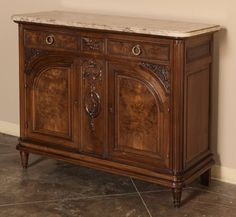 Louis XVI Marble-Top Walnut Buffet