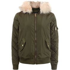 New Look Teens Khaki Faux Fur Hood Bomber Jacket (£26) ❤ liked on Polyvore featuring outerwear, jackets, khaki, bomber jacket, brown jacket, brown quilted jacket, khaki bomber jacket and hooded quilted jacket