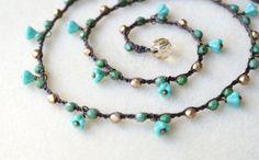Bohemian crochet necklace wrap bracelet anklet