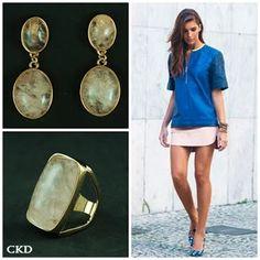 Maxi anel e brincos com quartzo rosa!! www.ckdsemijoias.com.br