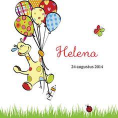 Giraffe met ballonnen - Geboortekaartje www.carddreams.be