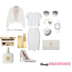 """All White"" by candy-pinkmilkshake on Polyvore"