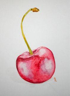 Watercolor of a cherry some of my 365 art in 2019 живопись фруктов, фрукты, Watercolor Fruit, Fruit Painting, Watercolour Painting, Watercolor Flowers, Cherry Drawing, Fruits Drawing, Cherries Jubilee, Fruit Art, Diy Canvas Art