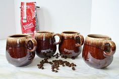 McCoy Coffee Mugs Brown Drip Pottery by WidhalmsCollectibles