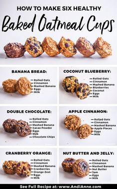 Healthy Oatmeal Recipes, Healthy Baking, Healthy Breakfast Recipes, Healthy Snacks, Healthy Oatmeal Breakfast, Oatmeal Banana Muffins Healthy, Baked Blueberry Oatmeal, Oatmeal Breakfast Cookies, Healthy Blueberry Muffins