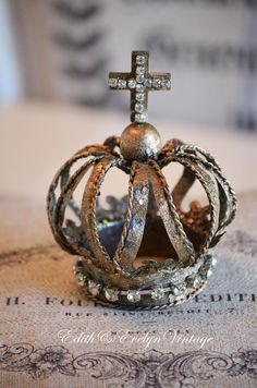French Style Tin Crown with Rhinestones Cross by edithandevelyn