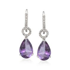 4.60 ct. t.w. Amethyst Removable Drop Hoop Earrings With Diamond Accents in Sterling Silver