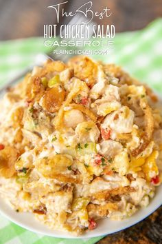 The BEST Hot Chicken Salad - Baked chicken salad loaded with pimentos, water chestnuts, almonds, cheese & french fried onions. Hot Chicken Salads, Chicken Salad Recipes, Chicken Soup, Chicken Meals, Yum Yum Chicken, Baked Chicken, Food Dishes, Main Dishes, Plain Chicken Recipe