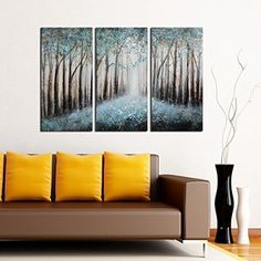 """ARTLAND 100% Hand Painted Framed Modern Wall Art """"Winter Tree"""" 3-Piece Gallery-Wrapped Landscape Oil Painting on Canvas Ready to Hang for Living Room for Wall Decor Home Decoration 24x36inches"""