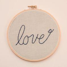Embroidered Cursive love Hoop Art by saradecemberrose on Etsy, $15.00