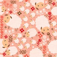 lovely lambs on pink fabric by laura_the_drawer on Spoonflower - custom fabric