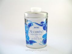 AVON Moonwind Vintage perfumed talc powder, silver and blue tin bottle, 1970s, by VintageImageBox