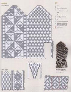 Mittens Part 3 Knitted Mittens Pattern, Knit Mittens, Knitted Gloves, Knitting Socks, Knitting Charts, Knitting Patterns, Crochet Decoration, Fingerless Mittens, Chart Design
