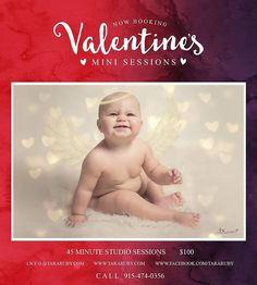 Valentine's Day Special Announcement:  Each session will include at least 1 complete edit with wings/halo. smile emoticon There are numerous overlays and heart colors to choose from! Sessions are at least 45 minutes long and are $100 with a 25% deposit required to schedule your session. Each session will also include a printed 8x10 of your choice from the final gallery!  Email/message us today to schedule yours. I am scheduling these sessions starting tomorrow and will continue them through…