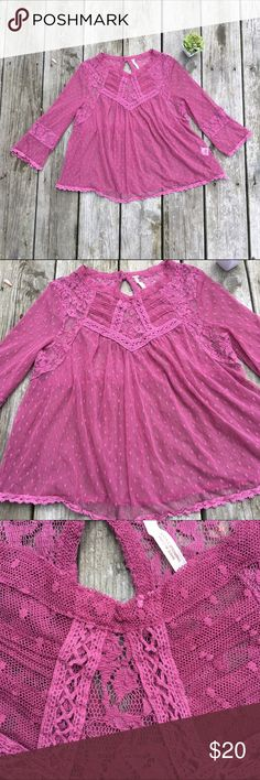 Free People gorgeous pretty rose pink color flowy top girly boho feel. lace like material see thru. very detailed. Free People Tops Blouses