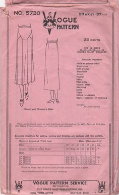 Vogue 5730 1930s Misses Skirt Pattern Pleats and Inset by mbchills, womens vintage sewing pattern from the 30s