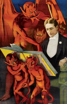 Strobridge Lithograph Co. poster of the famous American magician Howard Thurston being tutored by demons and goblins, 1916 from Magic.