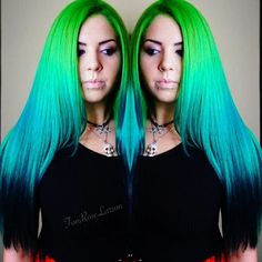 Green melting into turquoise hair color by Toni Rose Larson @ColorDollz sea green hair color turquoise hair color blue hair color hotonbeauty.com