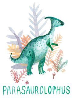 Parasaurolophus, Drawn By Cat http://drawnbycat.tumblr.com