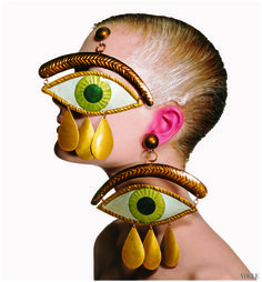 "midnight-charm: "" Jean Paul Gaultier Eye Earrings Photography by Irving Penn, New York, January 26 1998 """