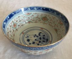 Chinese Rice Grain Pattern and Enamels Flower Hand Painted Decorated Bowl  late…