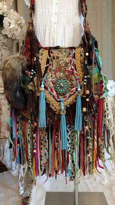 Large Handmade Fabric Bag Fringe Tote Beach Travel Hippie Boho OOAK Purse tmyers #HandmadebyTraciMyersMe #Crossbody