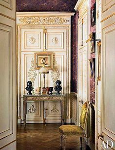 Purple and gold room with Neoclassic doors