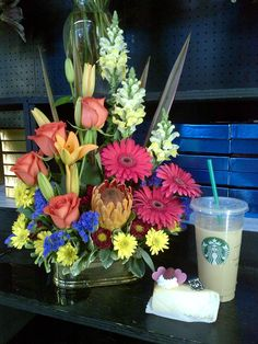 Cheesecake and Coffee and a beautiful Arrangement.