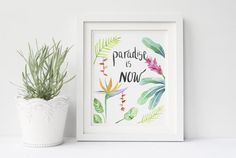 I am very happy to share this special series of printable art, that is not only really easy to print from the comfort of your home or local printshop, but is also close to heart. Based on my hand-drawn watercolor illustration, Paradise is NOW will certainly make you feel inspired in any space. Add color to your wall, or next to your beside with this tropical print! Perfect for valentines day gift, birthday gift, anniversary, or just because!  Once purchased, you will receive a digital file…