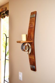 Wine Barrel Stave Wall Candle Holder by WineyGuys on Etsy https://www.etsy.com/listing/237848294/wine-barrel-stave-wall-candle-holder