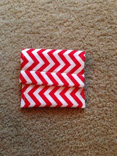 Red and white chevron pouch