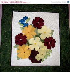 Quilted wall art Vase of Flowers in  3D by KellettKreations. On sale Save 20%