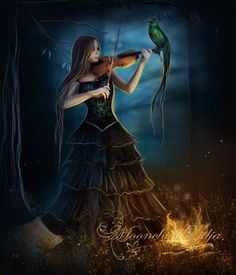 """kingray:Night Flame by *moonchild-ljilja """"After silence, that which comes nearest to expressing the inexpressible is music."""" ~Aldous Huxley,  Music At Night: And Other Essays"""