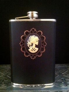 * Stainless Steel 8 oz Flask with Faux Leather  ~ Shop:DiamondstarhaloATL * wedding favors, groomsmen or bridesmaid gifts
