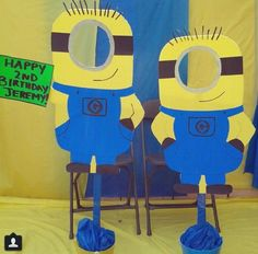minion cut outs - Yahoo Image Search Results Minions Birthday Theme, Minion Party Theme, Despicable Me Party, Happy 2nd Birthday, 60th Birthday Party, Party Themes, Minion Craft, Birthday Decorations, Cut Outs