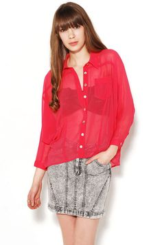 Akira Cotton Multi Sheer Open Batwing Chiffon Button Up in Pink Blouse Sheer Blouse, Ruffle Blouse, Red Chiffon, Fashion Design, Fashion Tips, Fashion Trends, Lady In Red, Button Up, Akira