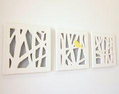 Yellow Bird Wall Art Set, Triptych Wall Art Set, Yellow and Gray Wall Art. $235.00, via Etsy.    WAAANTTT THEM <3