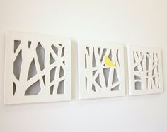 Yellow Bird Wall Art Set, Triptych Wall Art Set, Yellow and Gray Wall Art. $145.00, via Etsy.